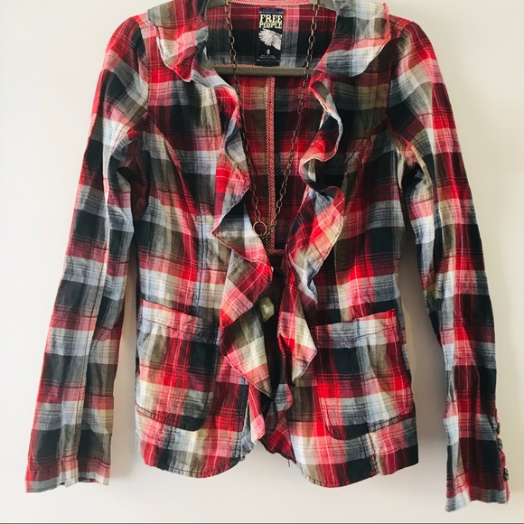 Free People Jackets & Blazers - Free People Plaid Cascading Liberty Jacket